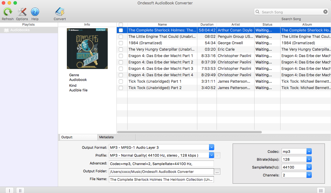 Convert iTunes audiobooks or Audible audiobooks to MP3, AAC, M4A, AC3, and so on